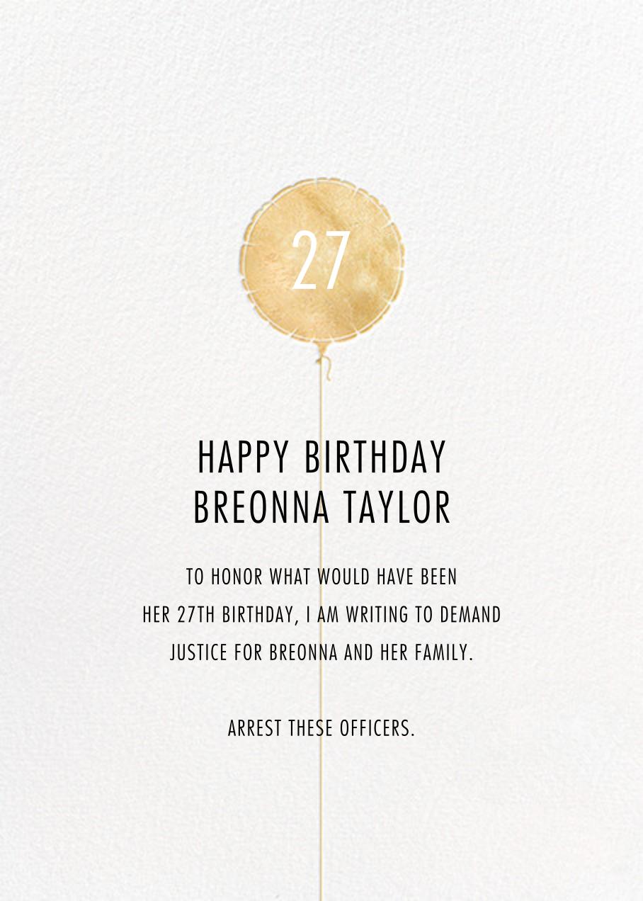 Mylar Balloon - Gold - Paperless Post - Breonna Taylor birthday cards