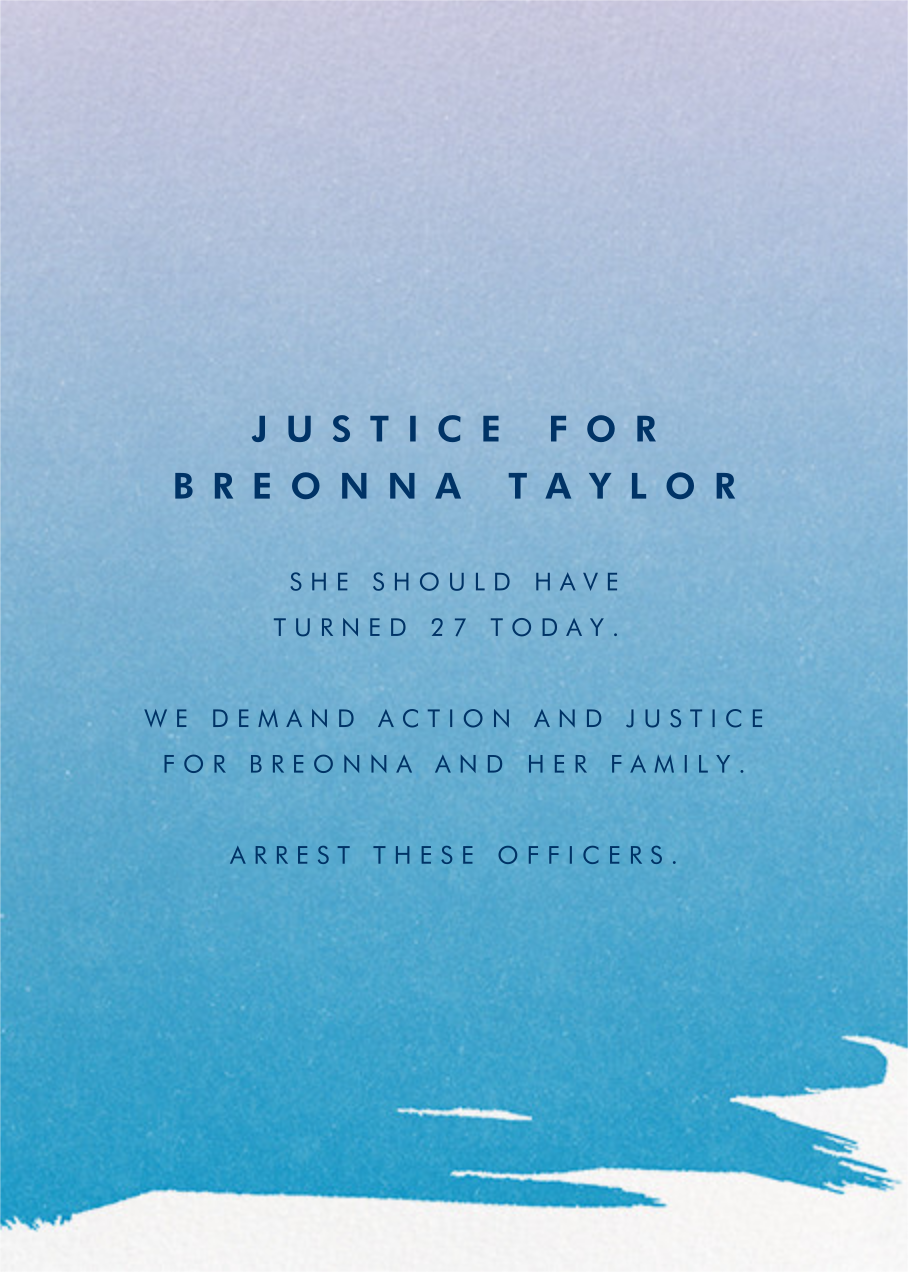 Gradient Painted - Blue - Paperless Post - Breonna Taylor birthday cards