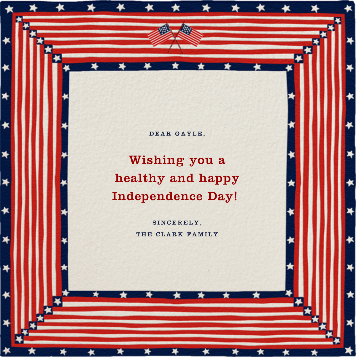 Patriotic Quilt - Paperless Post - 4th of July