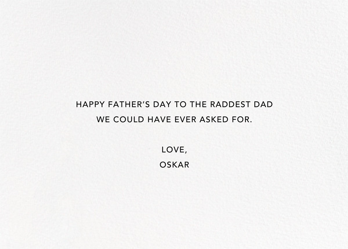 With Hugs and Kisses (Double-Sided) - Gold - Linda and Harriett - Father's Day - card back
