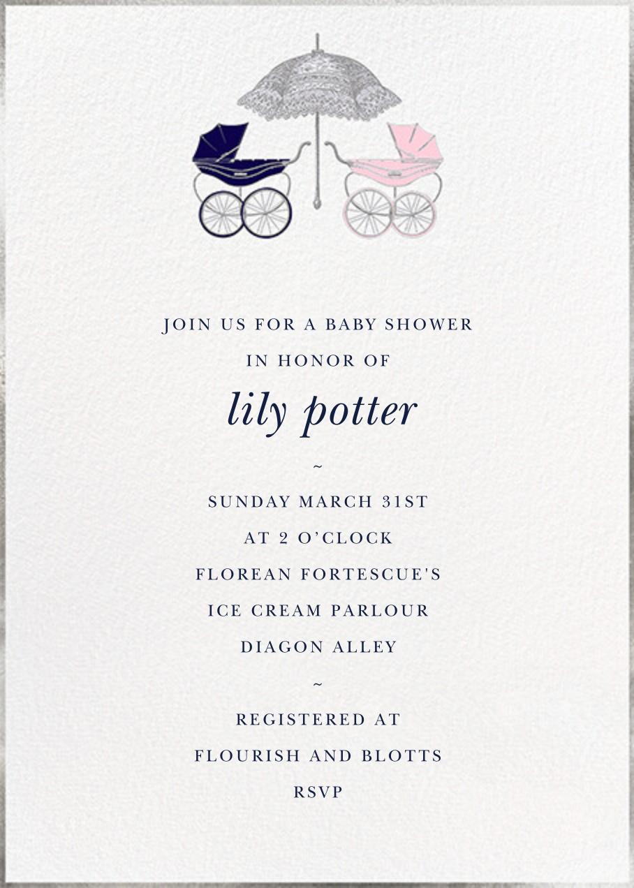 Pram - Blue/Pink - Paperless Post - Baby shower