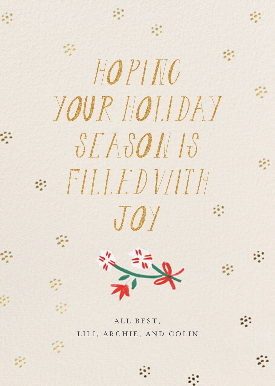 Merry Florals Photo - Mr. Boddington's Studio - Holiday cards - card back