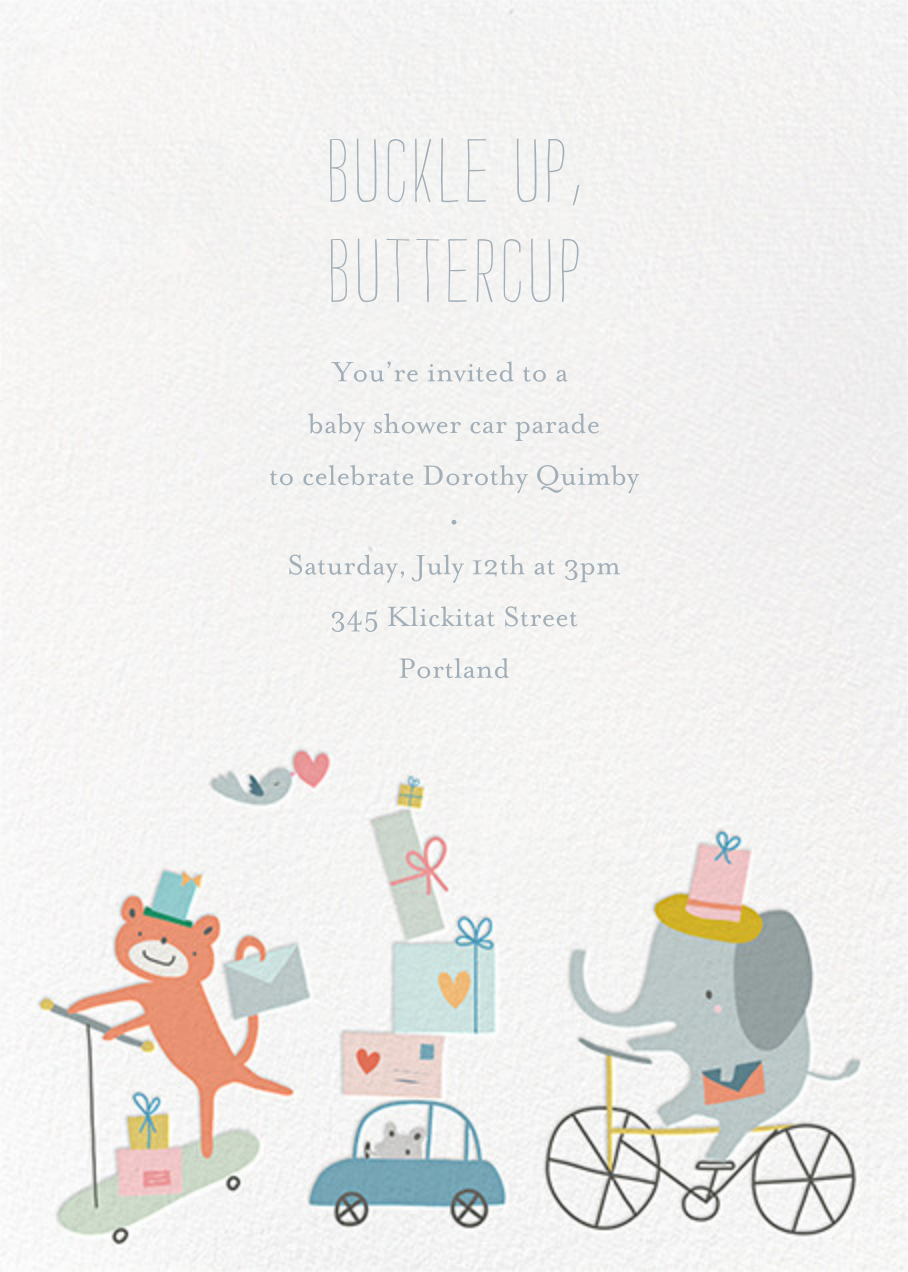 Presents Parade - Little Cube - Woodland baby shower invitations