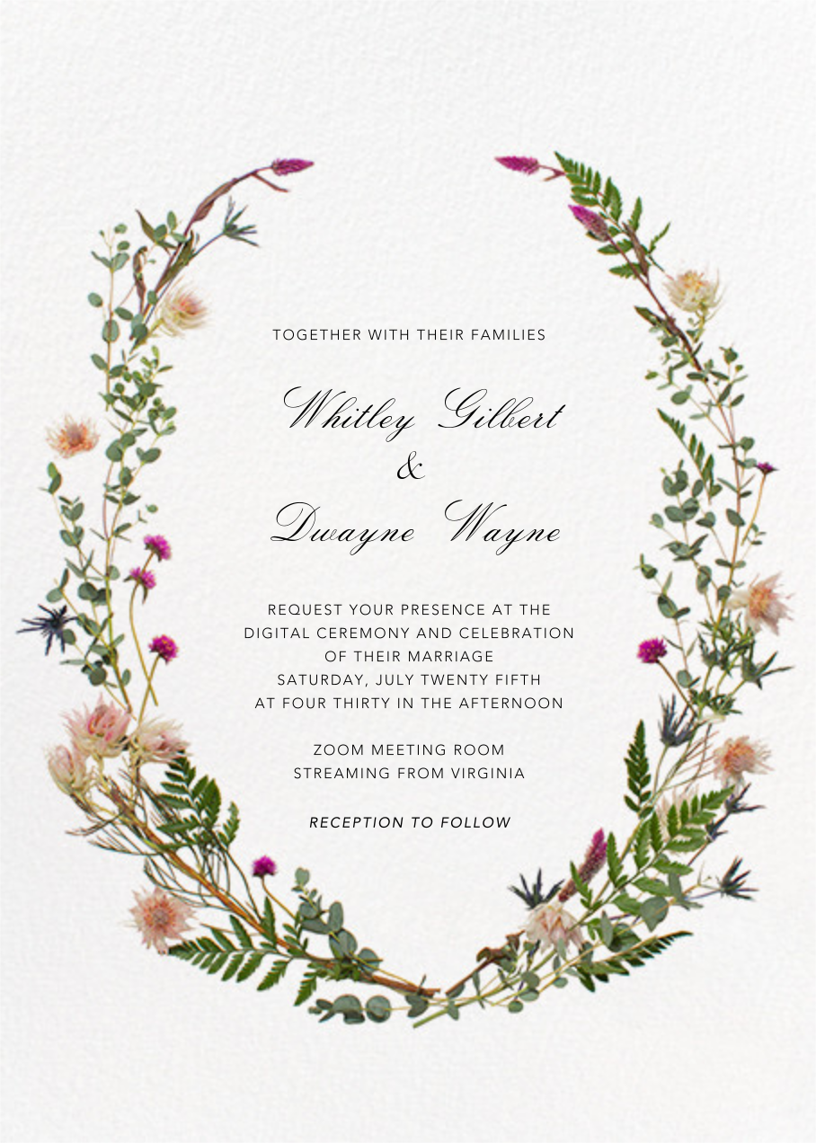 Fleurs Sauvages (Tall) - Paperless Post - Virtual wedding