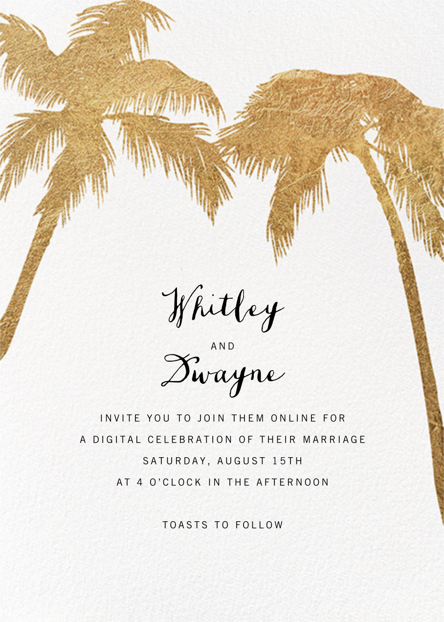 Tropical Palm - White - Paperless Post - Virtual wedding