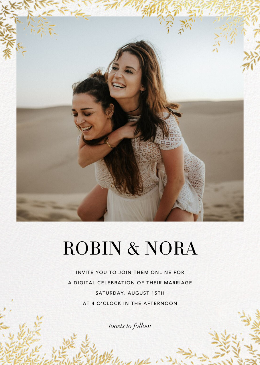 Leaves of Gold (Invitation) - Paperless Post - Virtual wedding