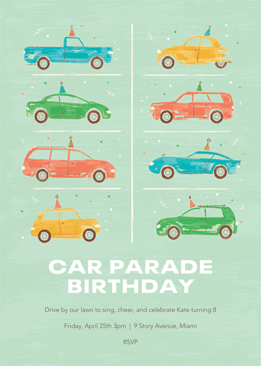 Party Cars - Paperless Post - Kids' birthday