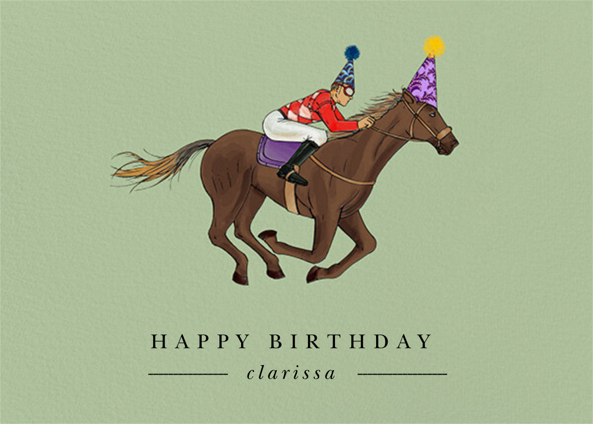 Thoroughbred Birthday - Sage/Medium - Paperless Post