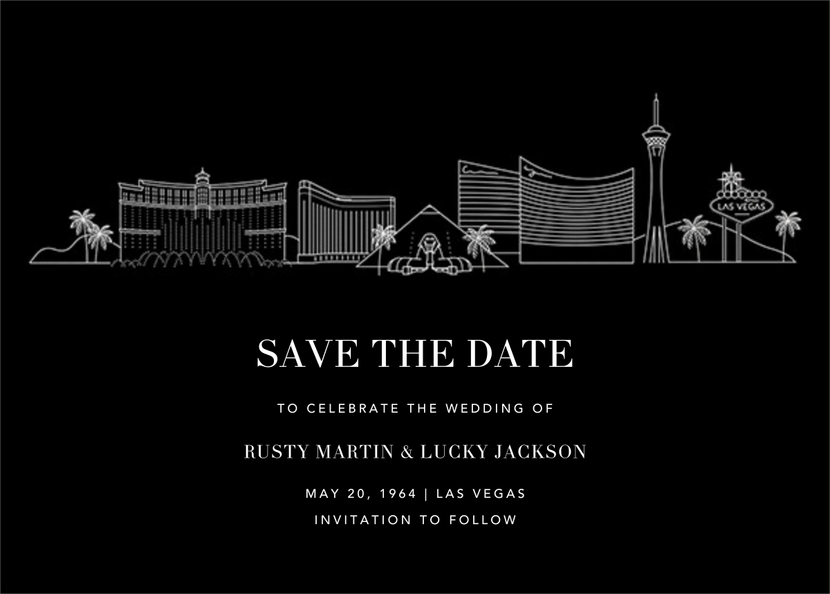 Las Vegas Skyline View (Save the Date) - Black/White - Paperless Post - Save the date