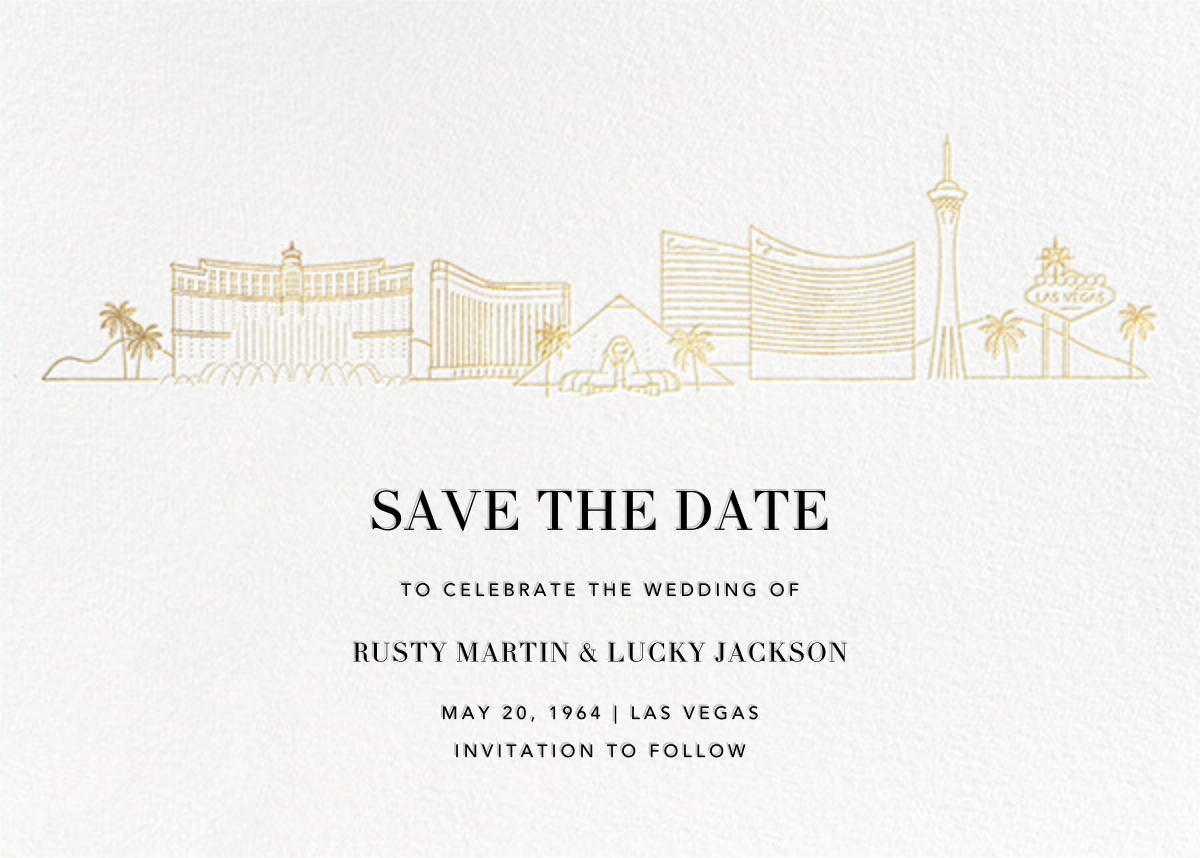 Las Vegas Skyline View (Save the Date) - White/Gold - Paperless Post - Save the date