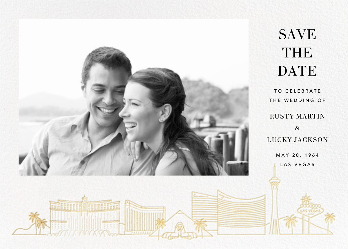 Las Vegas Skyline View (Photo Save the Date) - White/Gold - Paperless Post - Photo