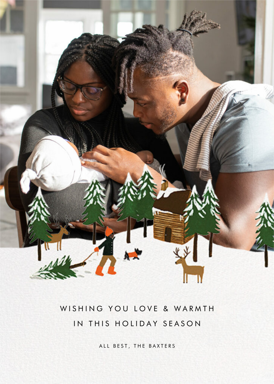 Christmas Cabin (Square Photo) - Deep - Rifle Paper Co. - Holiday cards
