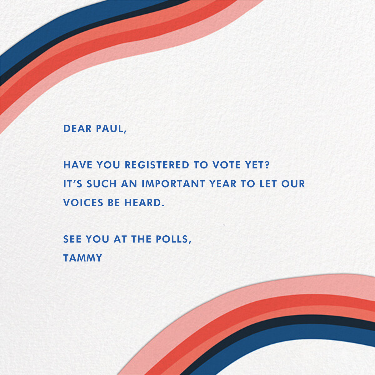 Vote Early - Hello!Lucky - Political action - card back