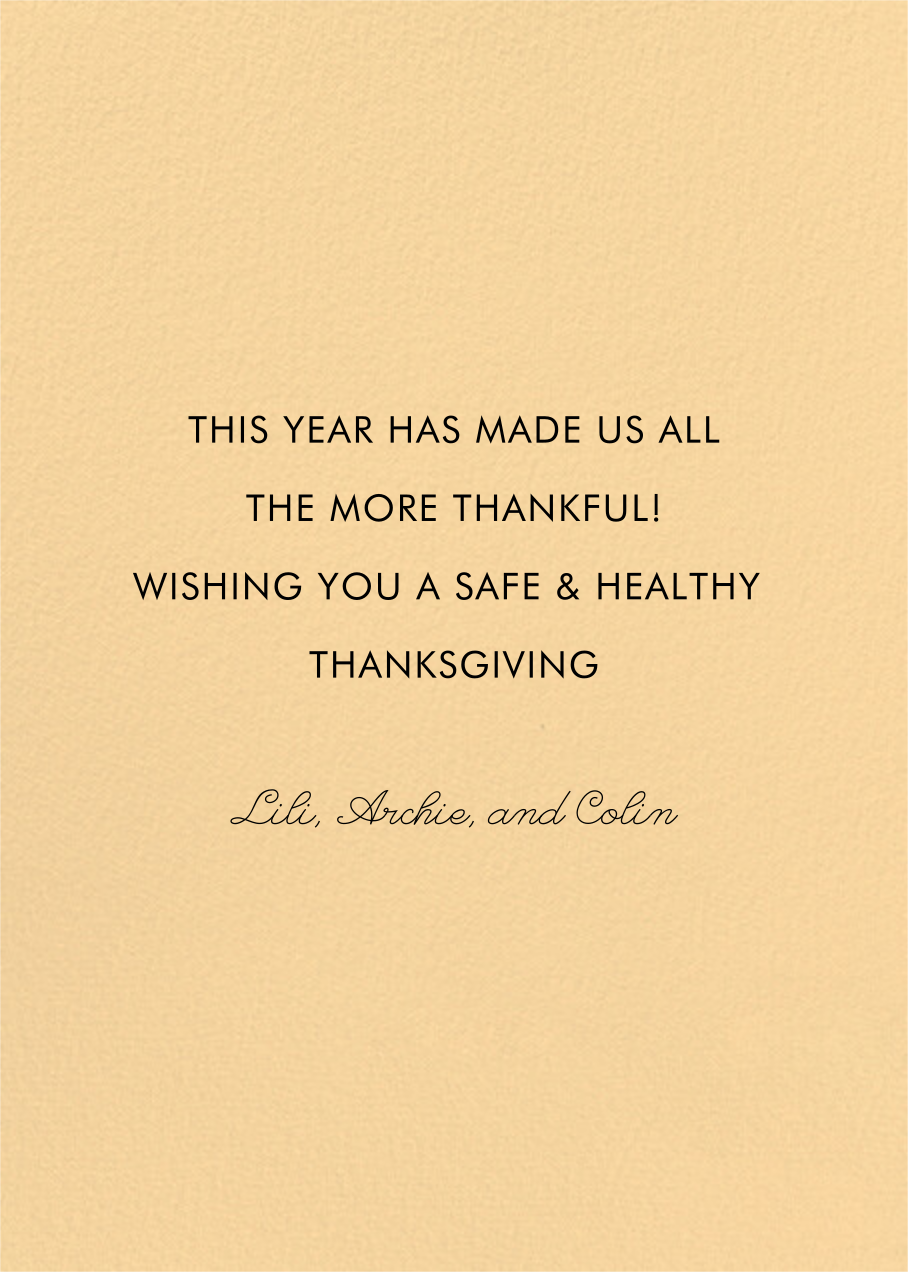Deco Thanksgiving (Marsha Robinson) - Red Cap Cards - Thanksgiving - card back