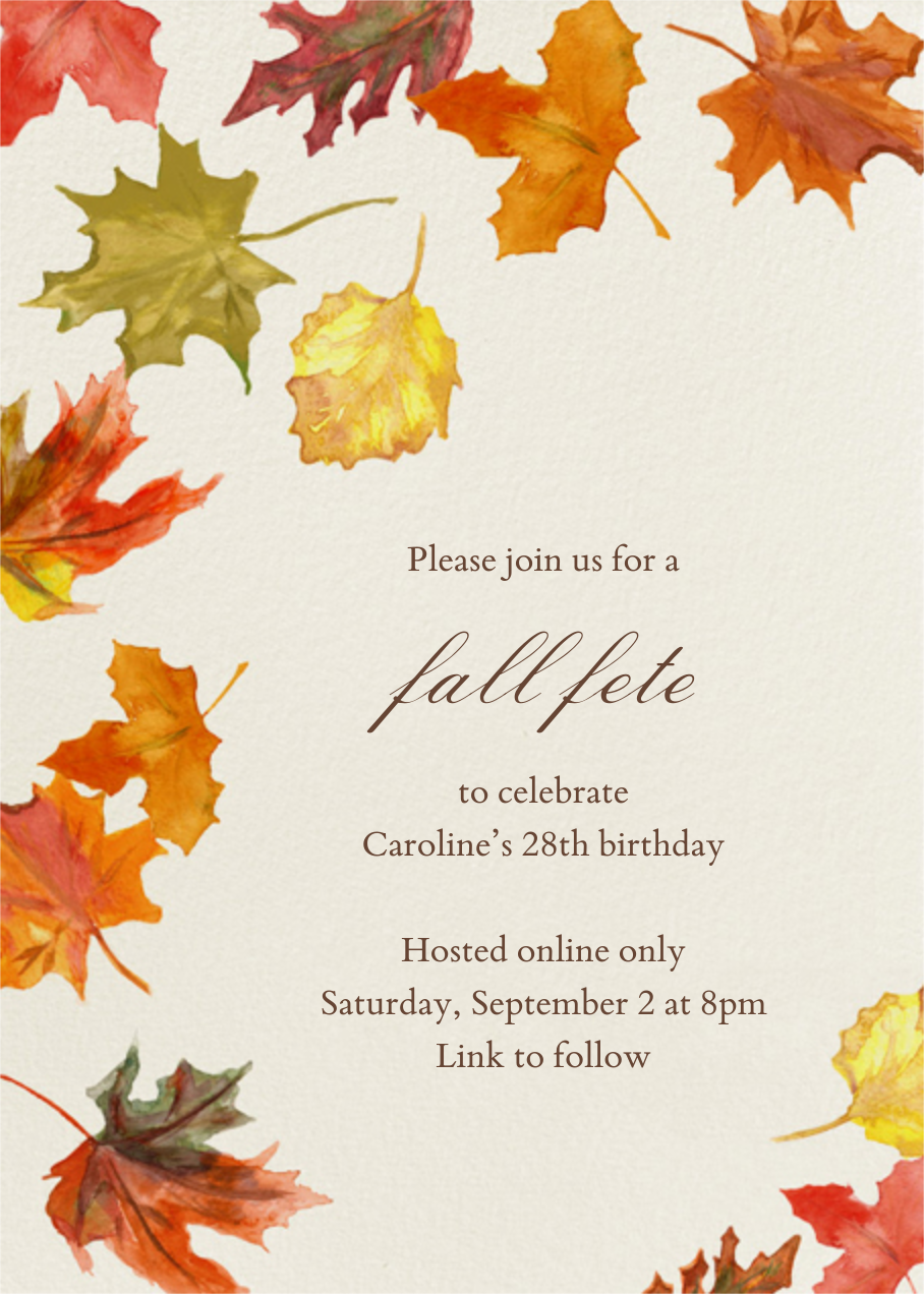 Watercolor Fall Leaves - Paperless Post - Adult birthday