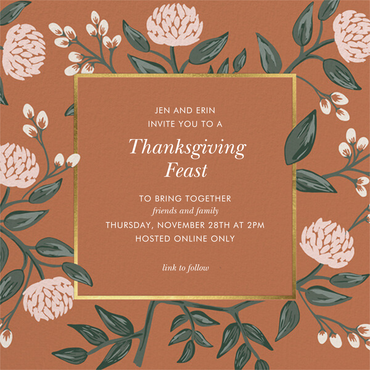 Peonies Burnt Sienna - Rifle Paper Co. - Thanksgiving