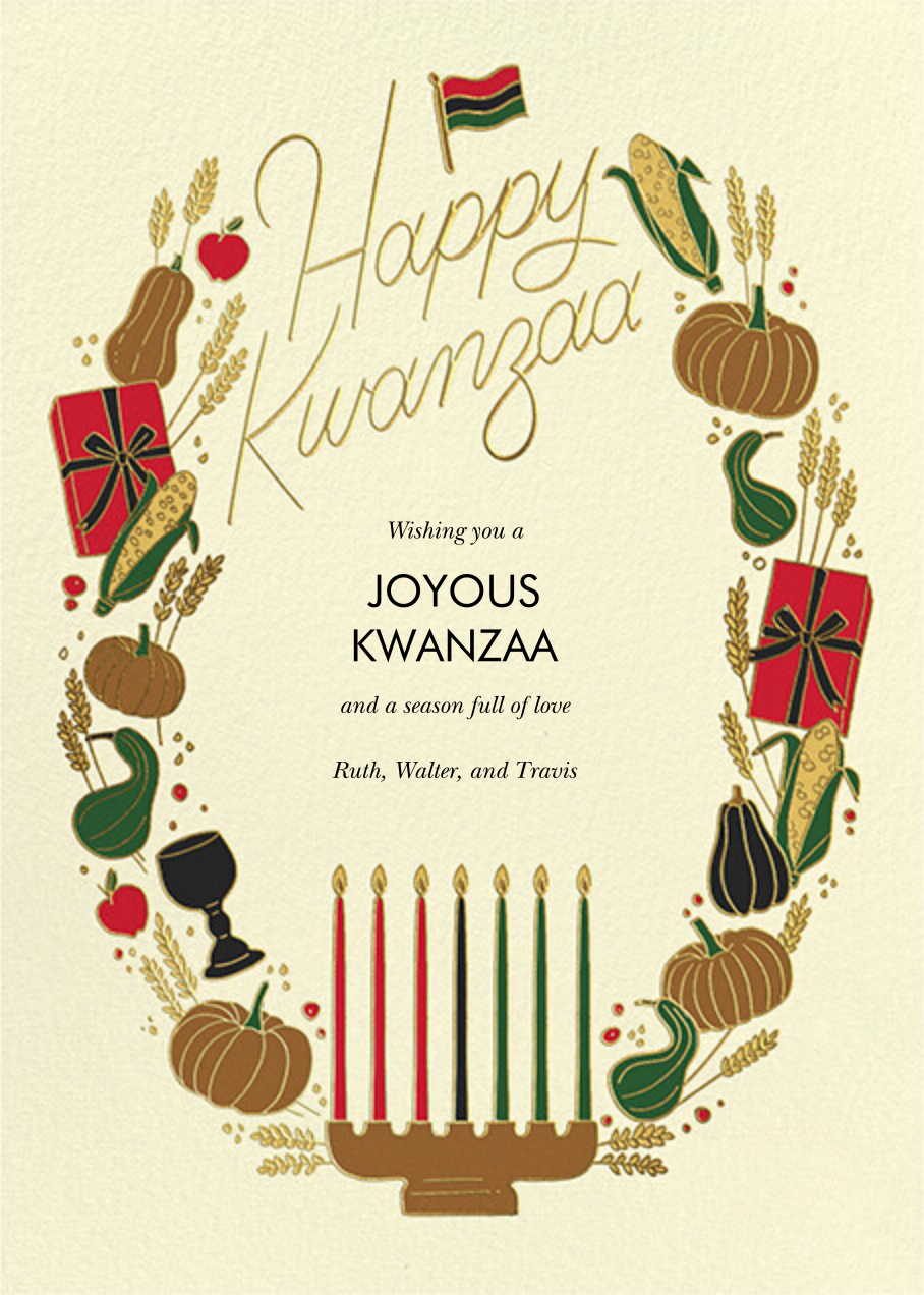 Kwanzaa Wreath (Greeting) - Cream - Paperless Post - Kwanzaa