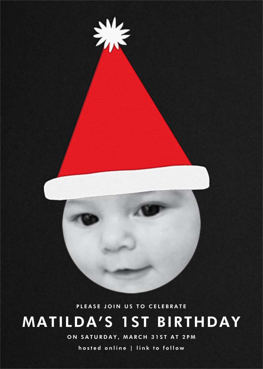 Santa Hat - Single Photo - The Indigo Bunting - Kids' birthday