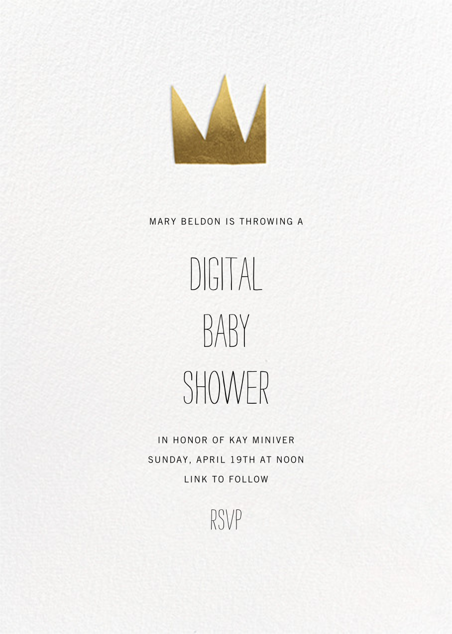 Gold Crown - Paperless Post - Baby shower