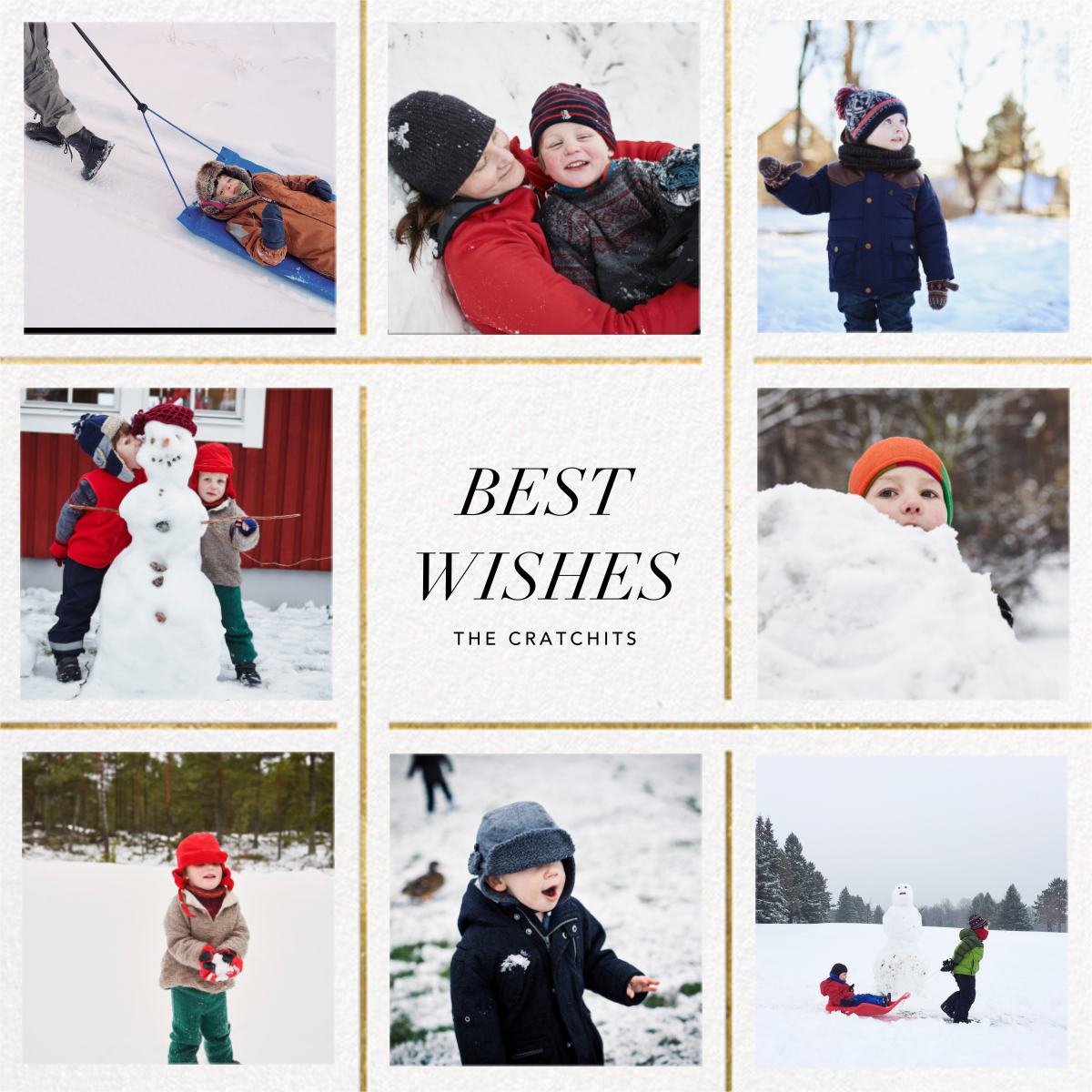 Whitework (8 Multi-Photo) - Gold - Paperless Post - Holiday cards