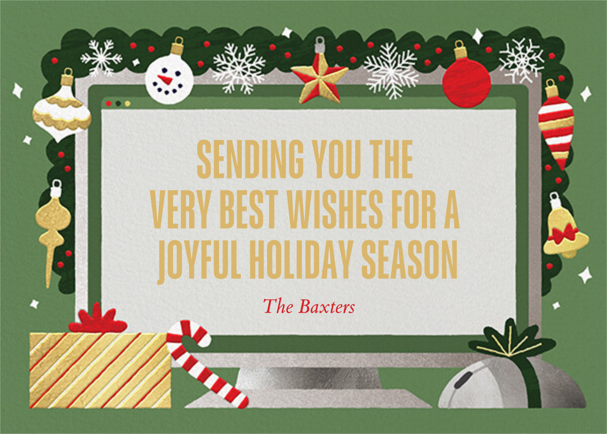 Home Screen (2 Photos) - Green - Paperless Post - Holiday cards - card back