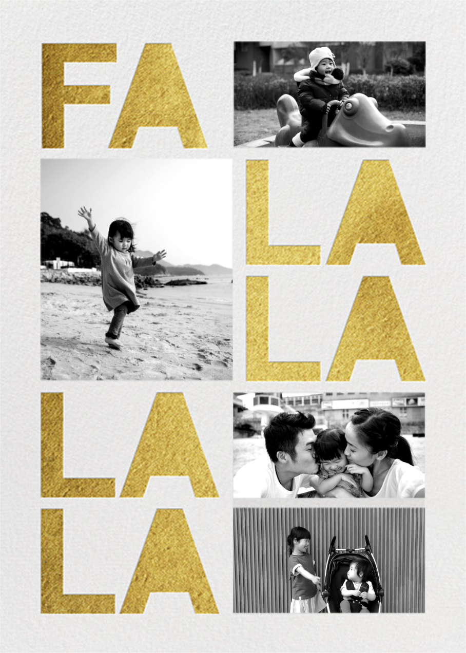 Fa Lalala La  (4 Photos) - Gold - Paperless Post - Holiday cards