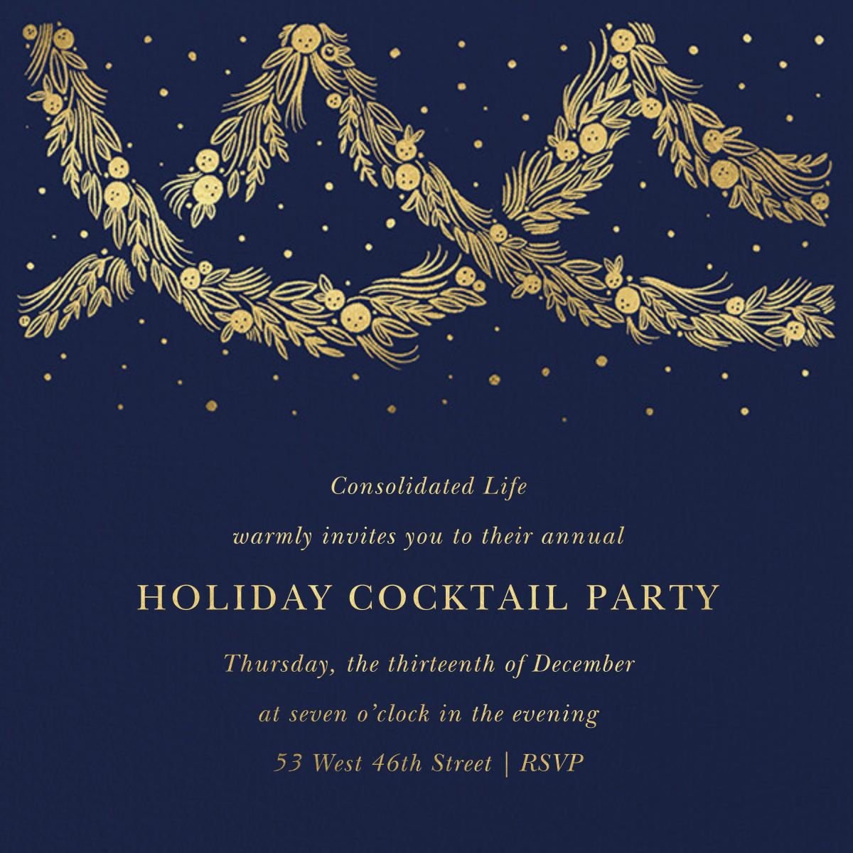 Holiday Drape - Navy - Paperless Post - Corporate invitations