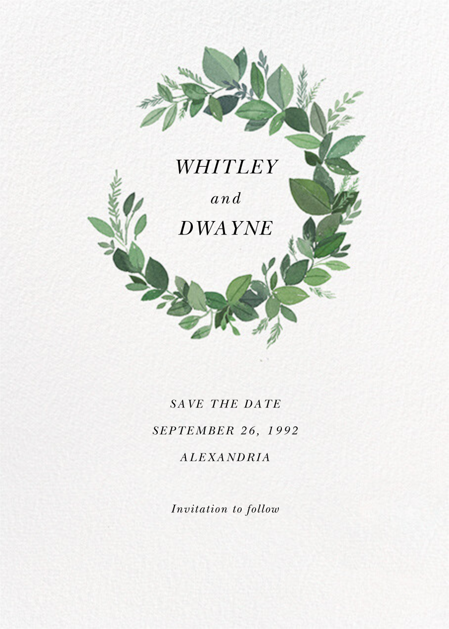Natural Wreath - Paperless Post - Save the date