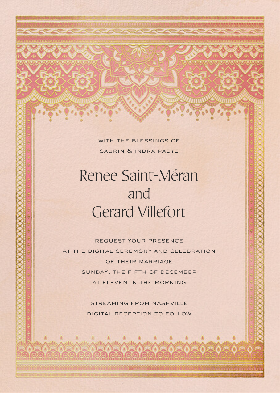Golden Paisley (Invitation) - Pink - Paperless Post - All