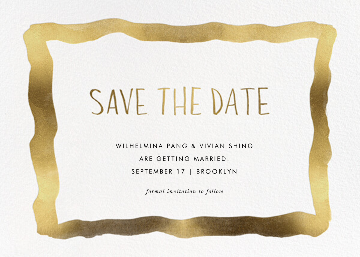 Watercolor Frame - Gold - Linda and Harriett - Save the date