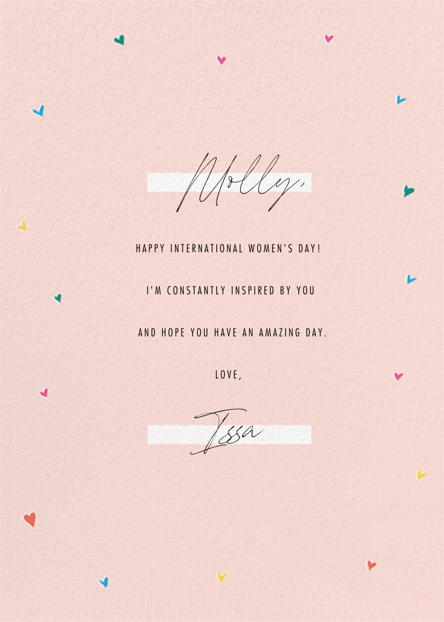 Empowered Women - Paperless Post - International Women's Day - card back
