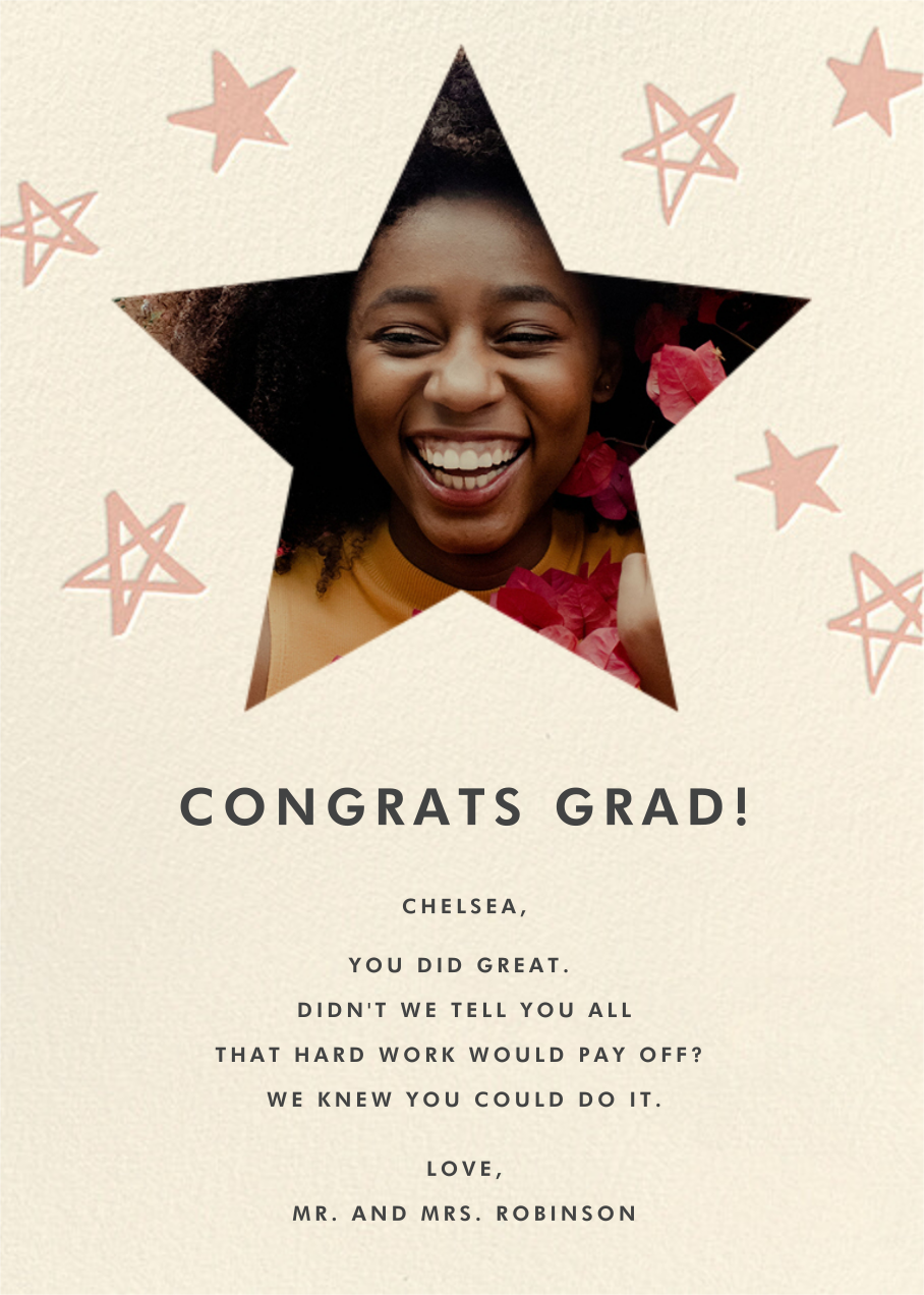 Reach for the Stars - Pink - Hello!Lucky - Graduation cards