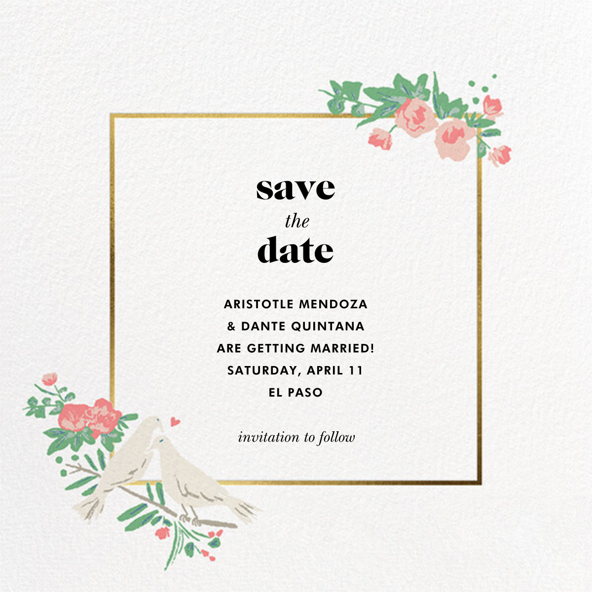 Dove Love - kate spade new york - Save the date