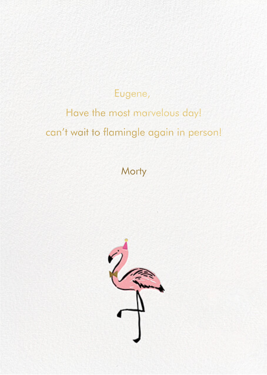 Fab Flamingos - Hello!Lucky - Birthday - card back
