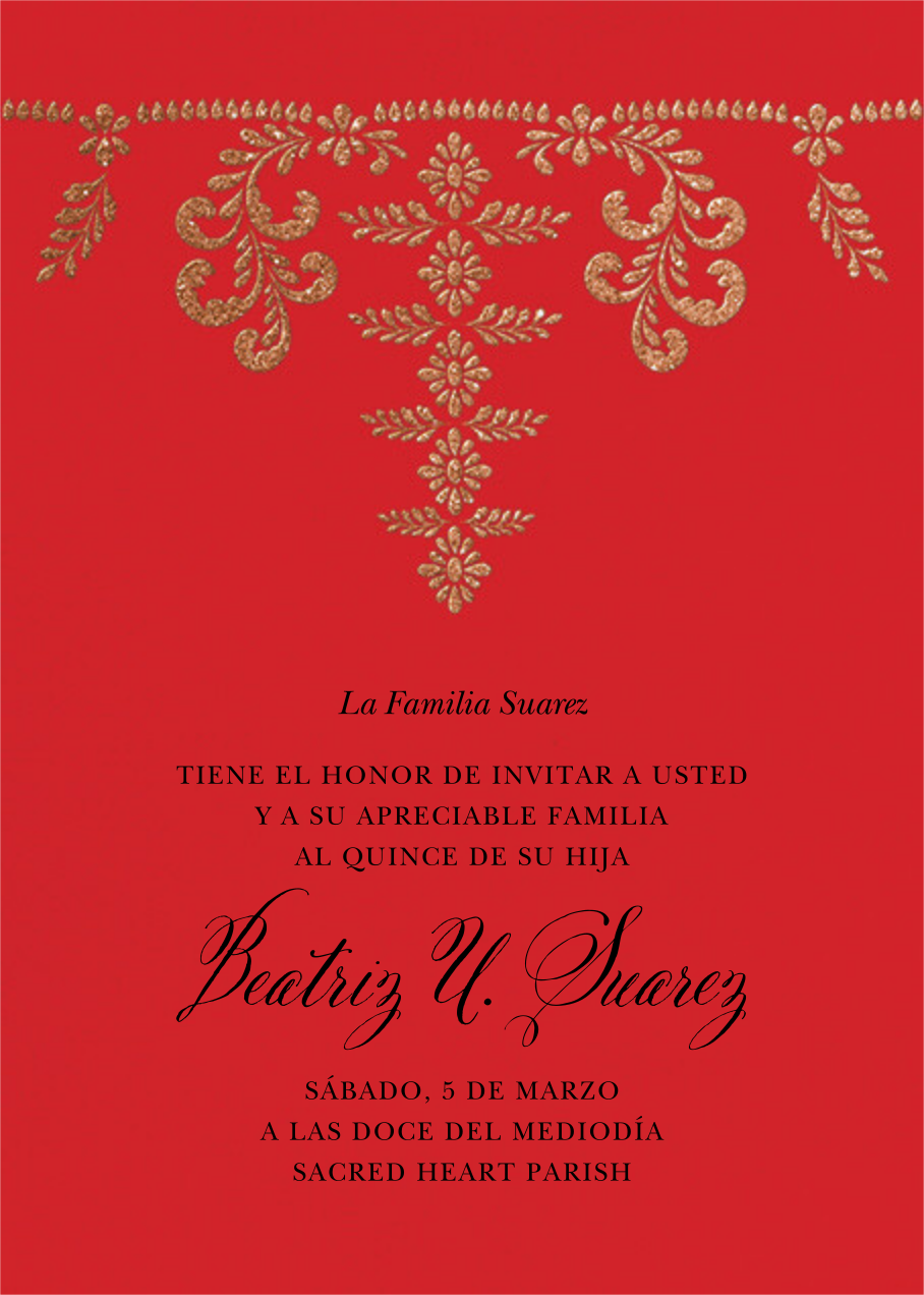 Ornate Occasion - Red - Paperless Post - Quinceañera