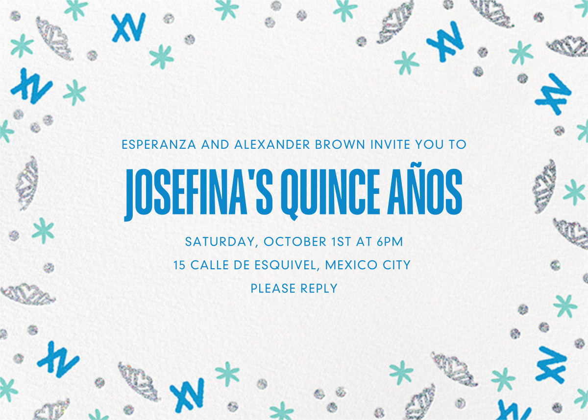 Glitter Glamour Photo - Paperless Post - Quinceañera - card back