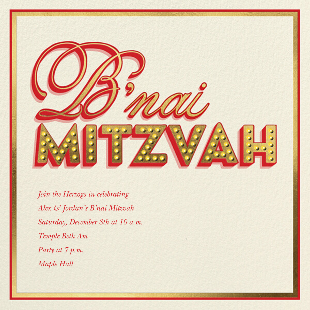 Mitzvah Marquee - B'nai - Paperless Post