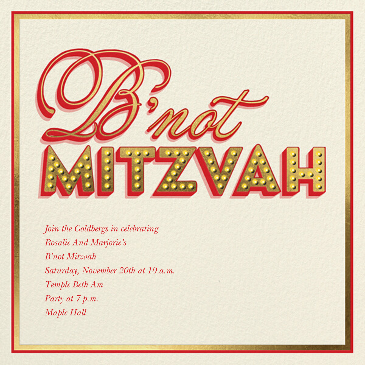 Mitzvah Marquee - B'not - Paperless Post