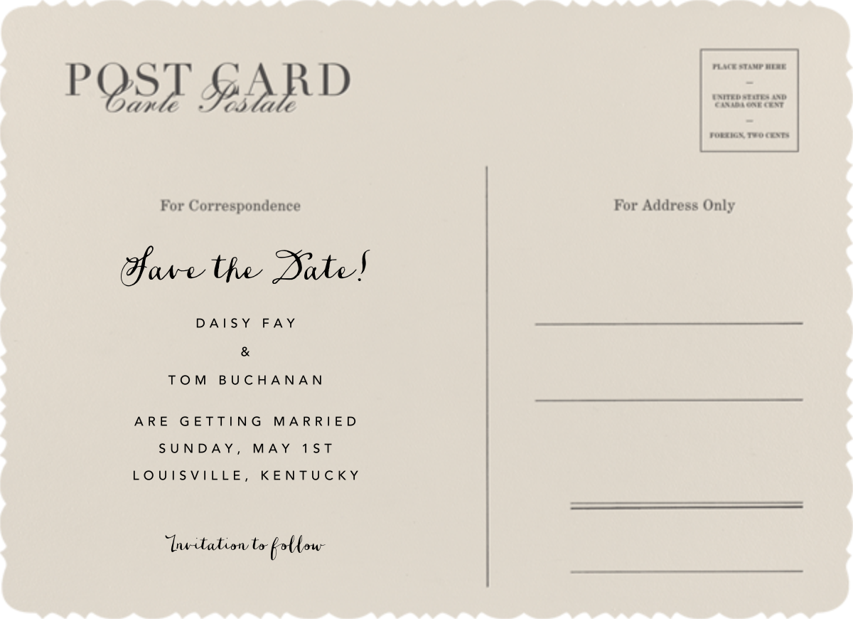 Vintage Post Card - Paperless Post - Save the date - card back