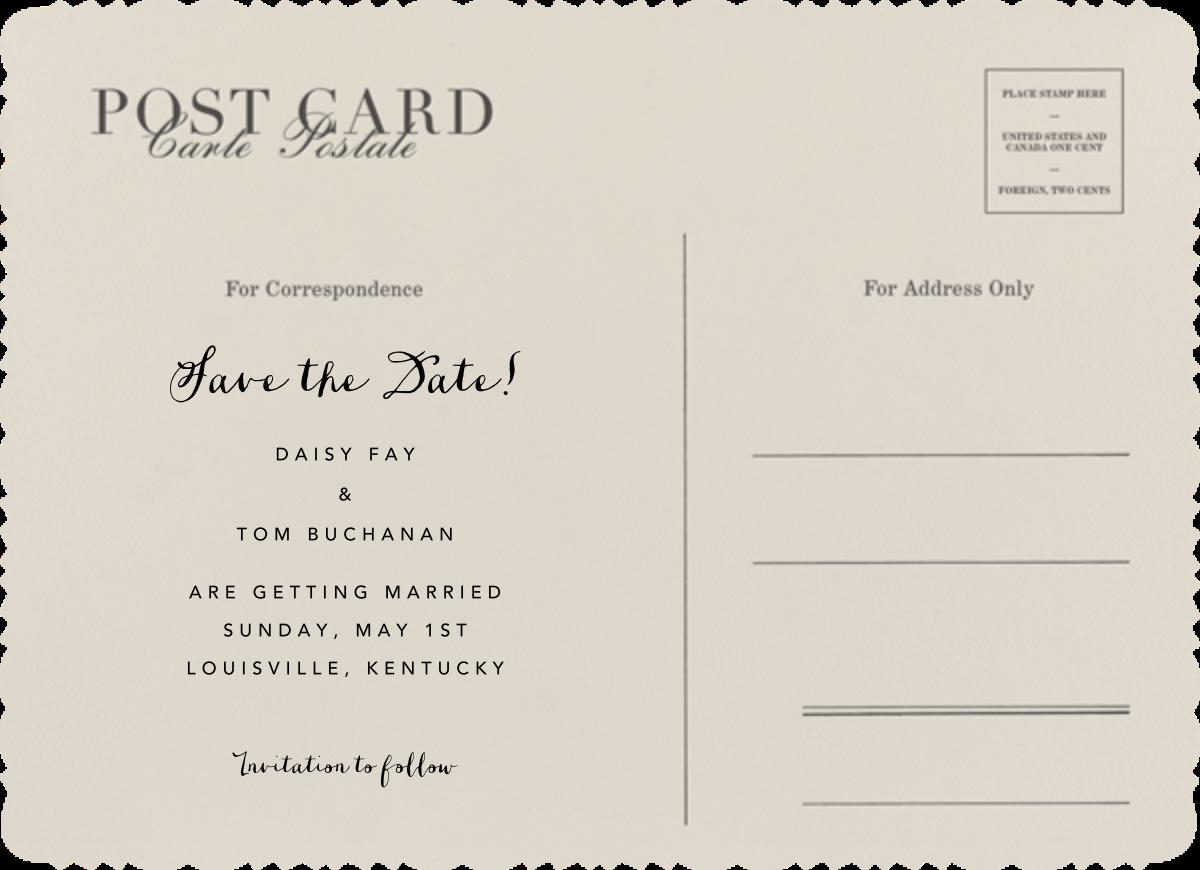 Vintage Post Card - Paperless Post - Back