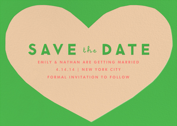 Heart Save the Date - Green Pink - The Indigo Bunting