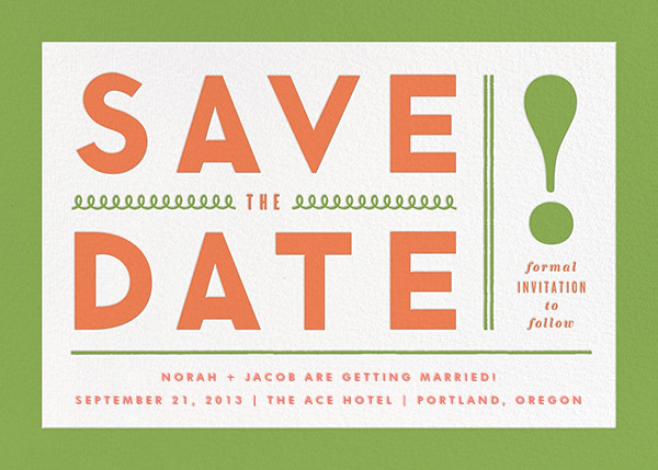 Bold Line (Save the Date) - Green - The Indigo Bunting - Save the date