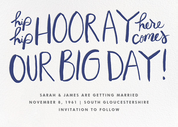 Hip Hip Hooray - Navy - Linda and Harriett - Save the date