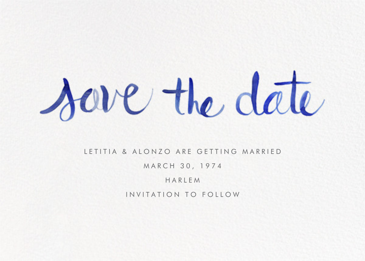 Watercolor Lettering - Blue - Linda and Harriett - Save the date