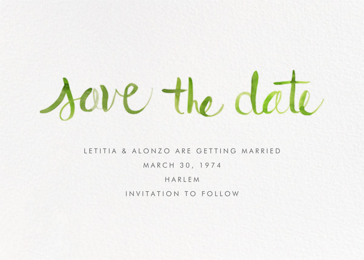 Watercolor Lettering - Green - Linda and Harriett - Save the date