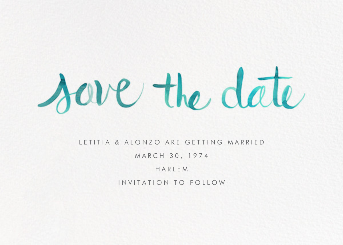 Watercolor Lettering - Turquoise - Linda and Harriett - Save the date
