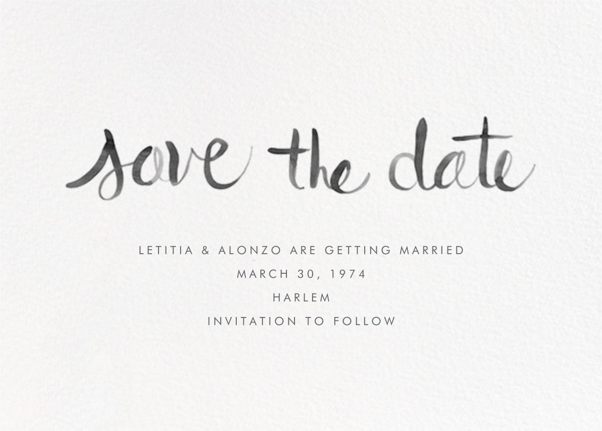 Watercolor Lettering - Black - Linda and Harriett - Save the date