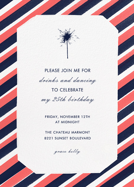 Diagonal Stripe Tall - Coral and Navy - Paperless Post - Adult birthday