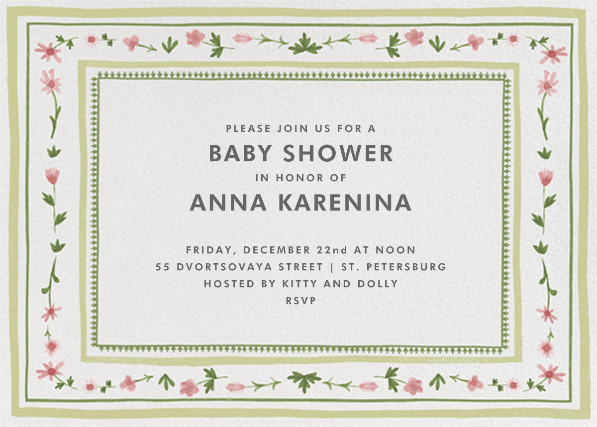 Floral Border - Paperless Post - Baby shower