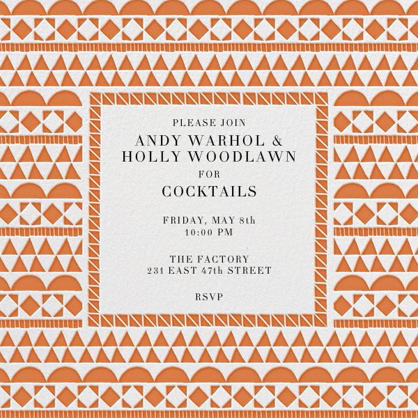 Geometric Border - Orange - Paperless Post - Cocktail party